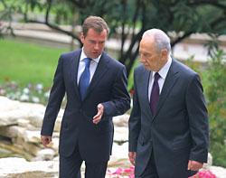 Встреча президента Дмитрий Медведева с израильским коллегой Шимоном Пересом